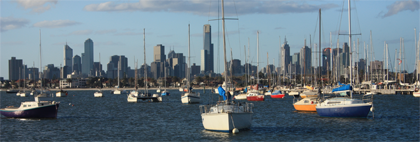 The skyline of Melbourne from the bay